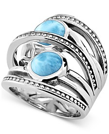 Marahlago Larimar Statement Ring in Sterling Silver