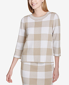 Calvin Klein Check-Print 3/4-Sleeve Sweater
