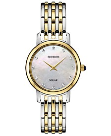 Women's Solar Diamond Collection Diamond-Accent Two-Tone Stainless Steel Bracelet Watch 30mm