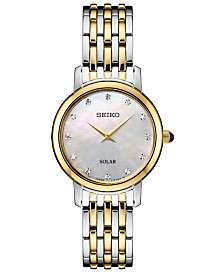 Seiko Women's Solar Diamond Collection Diamond-Accent Two-Tone Stainless Steel Bracelet Watch 30mm