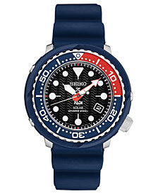 Seiko Men's Solar Prospex PADI Special Edition Diver Blue Silicone Strap Watch 46.7mm