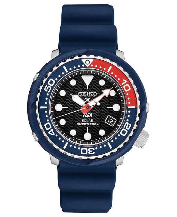 Seiko LIMITED EDITION Men's Solar Prospex PADI Special Edition Diver Blue Silicone Strap Watch 46.7mm