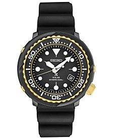 Men's Solar Prospex Diver Black Silicone Strap Watch 46.7mm