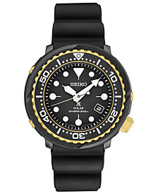 Seiko Men's Solar Prospex Diver Black Silicone Strap Watch 46.7mm