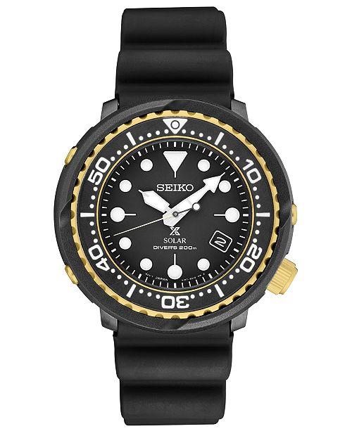 Seiko Men's Solar Prospex Diver Black Silicone Strap Watch 46.7mm