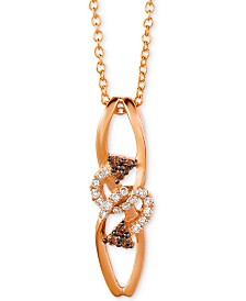"""Le Vian Chocolatier® Diamond Abstract 18"""" Pendant Necklace (1/8 ct. t.w.) in 14k Rose Gold"""