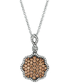 """Le Vian Chocolatier® Diamond Pavé 18"""" Pendant Necklace (3/4 ct. t.w.) in 14k White Gold"""