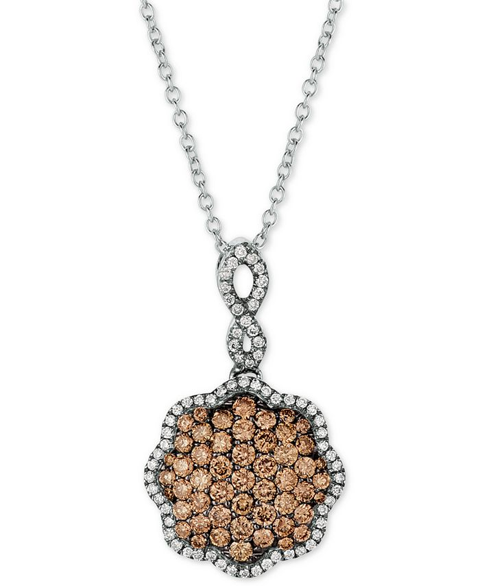 """Le Vian - Diamond Pavé 18"""" Pendant Necklace (3/4 ct. t.w.) in 14k White Gold"""