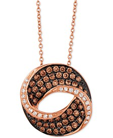 "Le Vian Chocolatier® Diamond Swirl 18"" Pendant Necklace (9/10 ct. t.w.) in 14k Rose Gold"