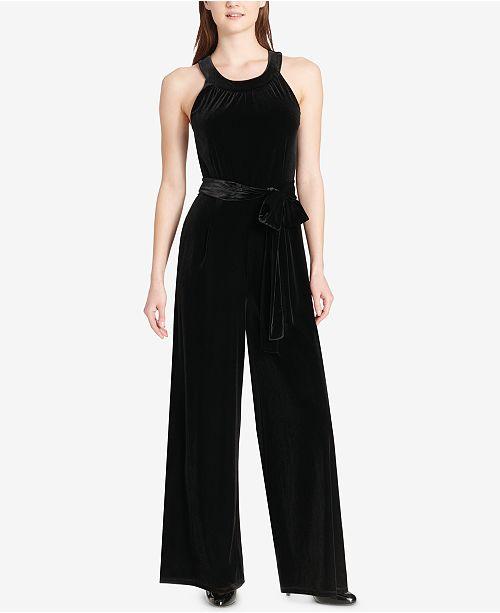 515c2b5628c Tommy Hilfiger Velvet Wide-Leg Jumpsuit   Reviews - Dresses - Women ...