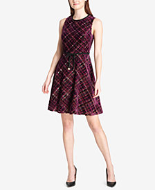 Tommy Hilfiger Velvet Plaid Fit & Flare Dress