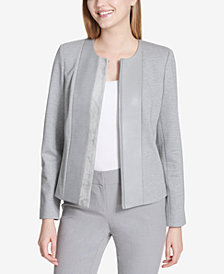 Calvin Klein Mixed-Media Flyaway Blazer