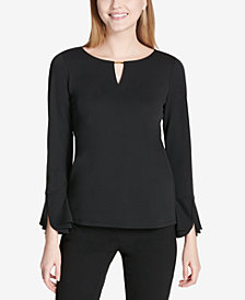 Calvin Klein Hardware-Embellished Tulip-Sleeve Top