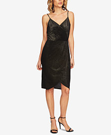 CeCe Metallic Sleeveless Wrap Dress