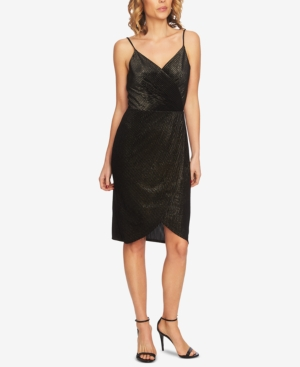 CeCe Metallic Sleeveless Wrap Dress