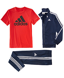 adidas Big Boys Tricot Jacket, Logo-Print T-Shirt & Trainder Pants