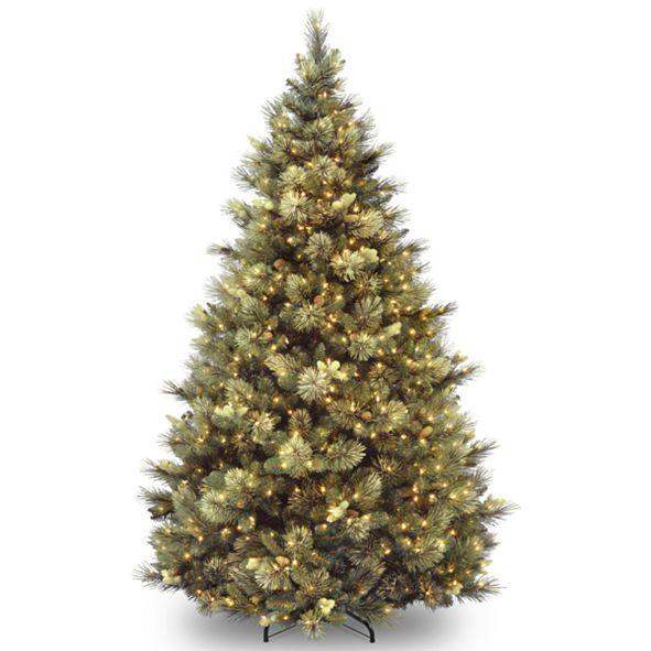 National Tree Company National Tree 7' Carolina Pine Hinged Tree with Flocked Cones and 850 Clear Lights