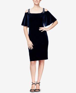 Alex Evenings Velvet Cold-Shoulder Dress 6715953