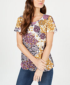 Style & Co Graphic Floral-Print Top, Created for Macy's