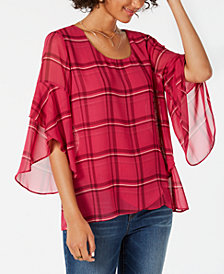 Style & Co Petite Plaid Crossover Top, Created for Macy's