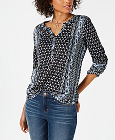 Petite Printed Roll-Tab Sleeve Top, Created for Macy's