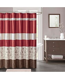 "Décor Studio Serene Embroidered 72"" x 72"" Faux-Silk Shower Curtain, Created for Macy's"