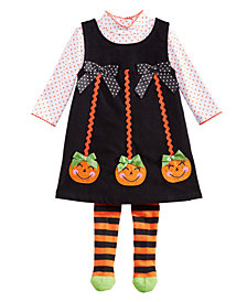 Blueberi Boulevard Baby Girls 3-Pc. Pumpkin Jumper, Top & Tights Set