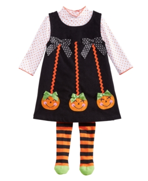 Blueberi Boulevard Baby Girls 3Pc Pumpkin Jumper Top  Tights Set