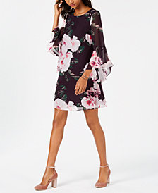 Nine West Floral Bell-Sleeve Shift Dress, Created for Macy's