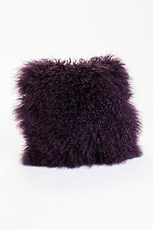 Lamb Fur Pillow, Purple