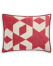 Martha Stewart Collection Geometric Stars Standard Sham, Created for Macy's