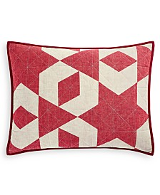 CLOSEOUT! Martha Stewart Collection Geometric Stars Standard Sham, Created for Macy's