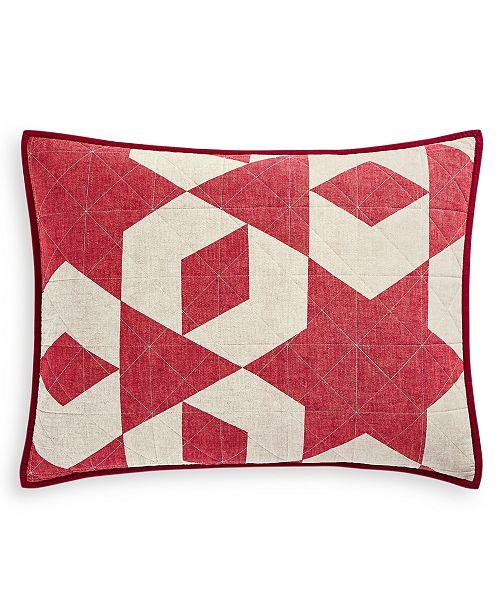 Martha Stewart Collection CLOSEOUT! Geometric Stars Standard Sham, Created for Macy's