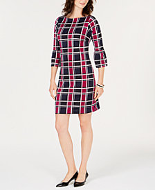 Charter Club Plaid Bell-Sleeved Shift Dress, Created for Macy's