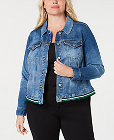 I.N.C. Plus Size Striped-Hem Denim Jacket, Created for Macy's