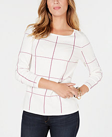 Charter Club Windowpane-Pattern Sweater, Created for Macy's