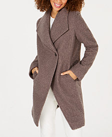 T Tahari Sheila Asymmetrical Textured Coat
