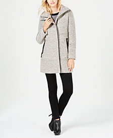 Calvin Klein Petite Faux-Leather-Trim Coat