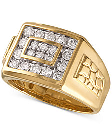 Men's Diamond Cluster Nugget Detail Ring (1 ct. t.w.) in 10k Gold