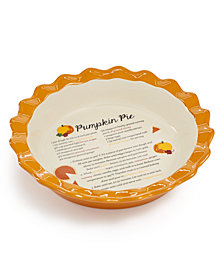 Martha Stewart Collection Ceramic Pumpkin Pie Dish, Created for Macys