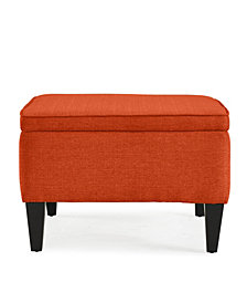 George Flip Top Ottoman in Orange Linen