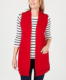 Karen Scott Open-Front Sweater Vest, Created for Macy's
