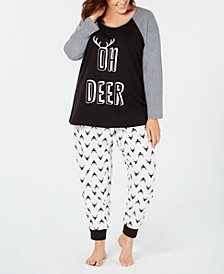 Matching Family Pajamas Plus Size Women's Oh Deer Pajama Set, Created for Macy's