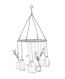 Round Wire Hanging Glass Vases with Crystals