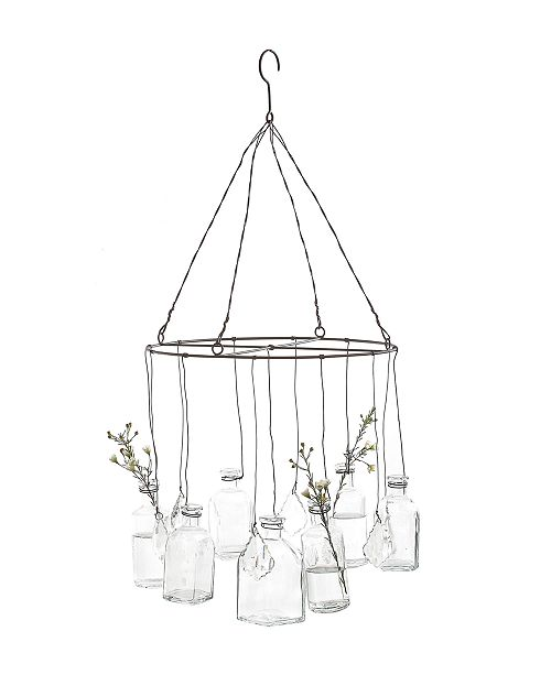 3R Studio Round Wire Hanging Glass Vases with Crystals