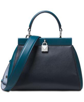 michael kors gramercy polished leather top handle satchel handbags rh macys com