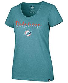 '47 Brand Women's Miami Dolphins Sparkle Dip Club Scoop T-Shirt