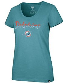 '47 Brand Women's Miami Dolphins Sparkle Dip Club Scoop T-Shirt