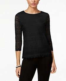 Petite Lace 3/4-Sleeve Top, Created for Macy's