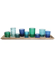 3R Studio 10-Pc. Wood Tray & Green Glass Votive Holders